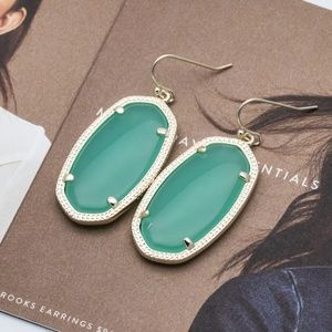 Kendra Scott Elle Gold Chalcedony Green Earrings